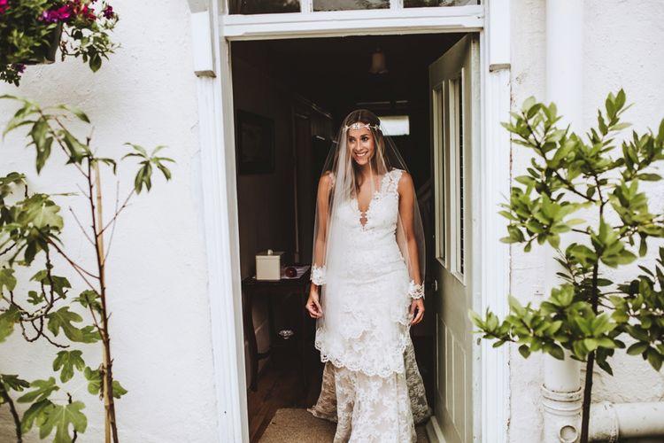 Bride In Watters Wedding Dress