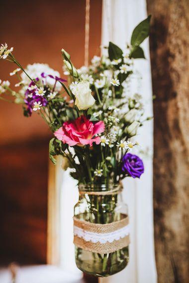 Rustic Wedding Decor Jam Jar Flowers