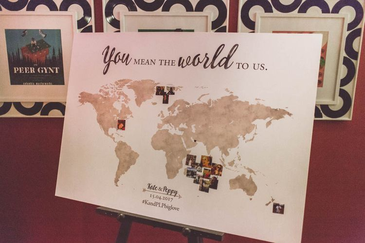You Mean the World To Us Map Decor | Ham Yard Hotel Wedding in London Soho | WE ARE // THE CLARKES