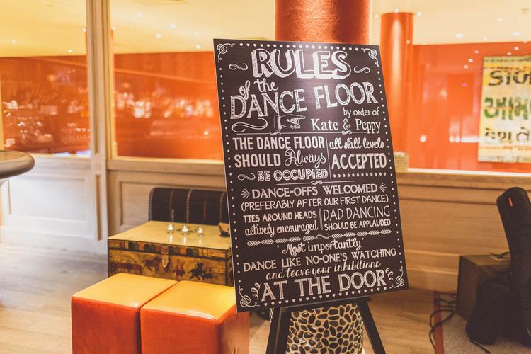 Dance Floor Rules Sign | Ham Yard Hotel Wedding in London Soho | WE ARE // THE CLARKES