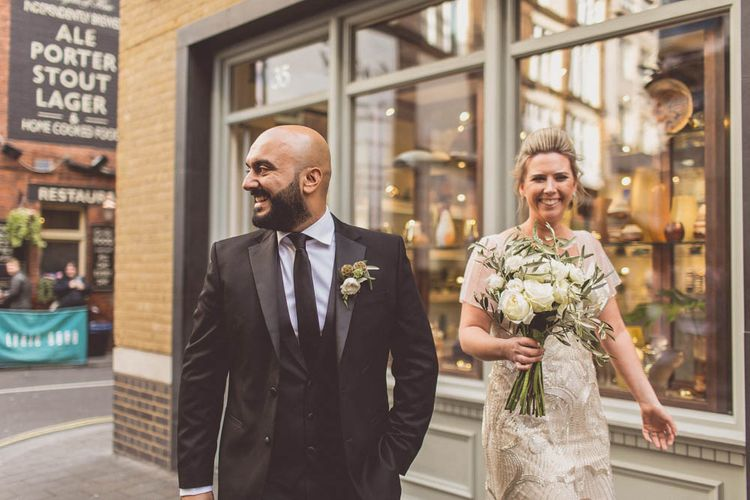 Bride in Maggie Sottero | Groom in Savile Row Suit | Ham Yard Hotel Wedding in London Soho | WE ARE // THE CLARKES