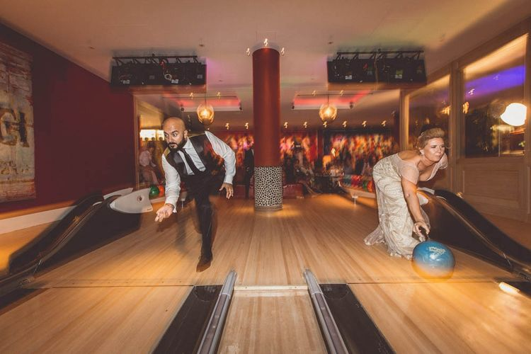 Bride & Groom Bowling at Ham Yard Hotel in London Soho | WE ARE // THE CLARKES