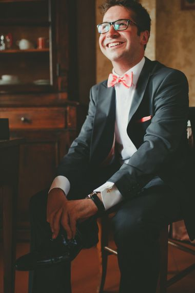 Groom in Coral Bow Tie