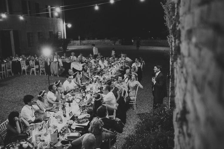 Outdoor Wedding Reception with Festoon Lights