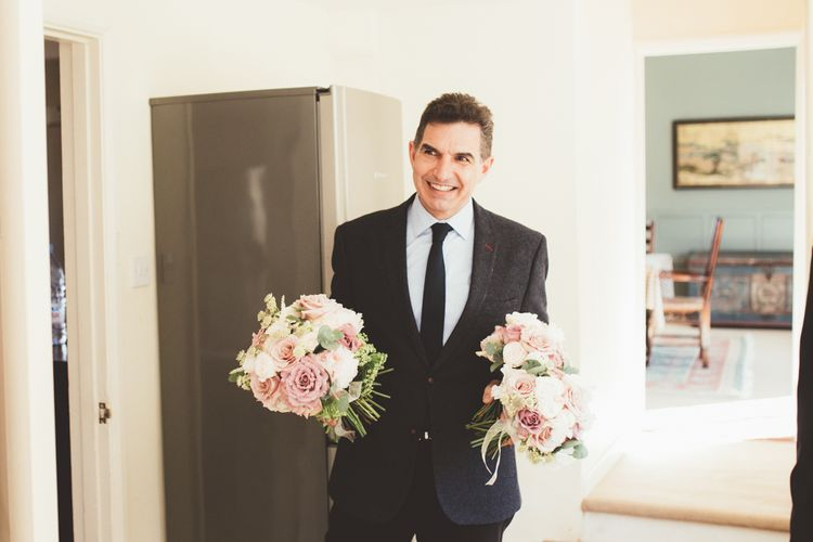 Father of the Bride with Bouquets | Maryanne Weddings Photography