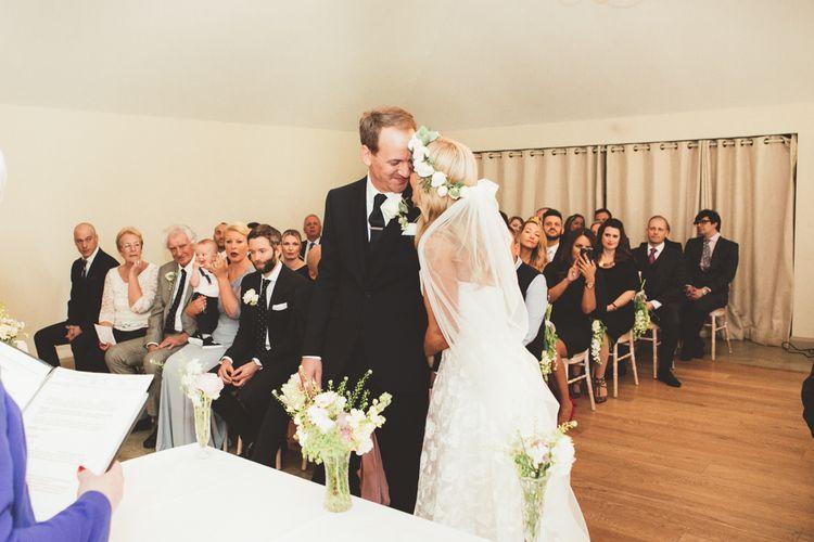 Wedding Ceremony | Bride in Kate Halfpenny London Eseme Bridal Gown | Maryanne Weddings Photography