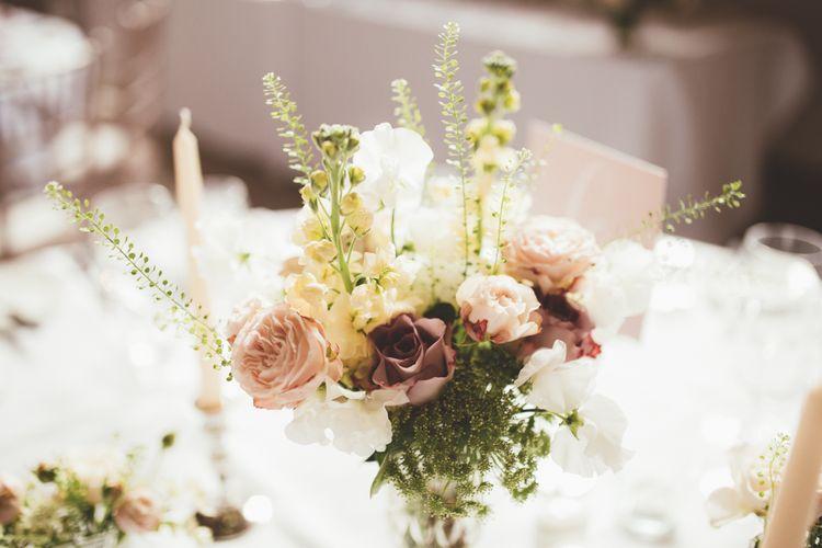Peach Wedding Flowers in Vase | Maryanne Weddings Photography