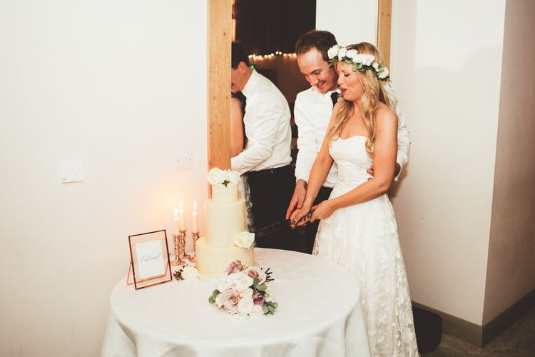 Cutting the Cake | Bride in Kate Halfpenny London Eseme Bridal Gown | Maryanne Weddings Photography