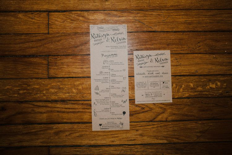 Kraft Paper with Black Calligraphy Wedding Stationery