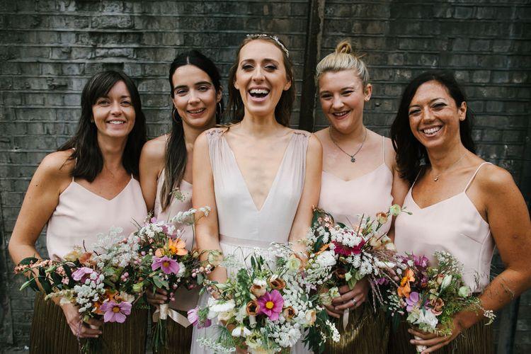 Bridesmaids in Gold Zara Skirts & ASOS Tops | Bridesmaid Separates