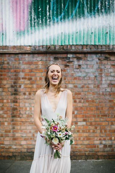 Bride in Jenny Packham Blush Ombre Wedding Dress