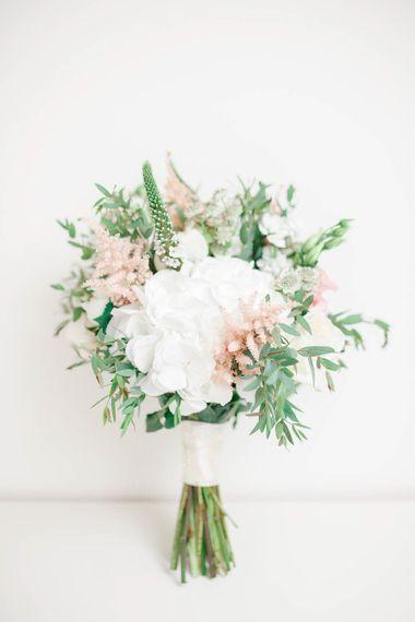White Hydrangea & Pink Bouquet | Romantic Pastel Wedding at Cripps Barn | White Stag Wedding Photography | Dan Hodge Wedding Films