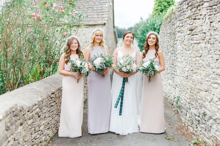 Pink Hued ASOS Bridesmaid Dresses | Bride in Ellis Bridal Gown | Romantic Pastel Wedding at Cripps Barn | White Stag Wedding Photography | Dan Hodge Wedding Films