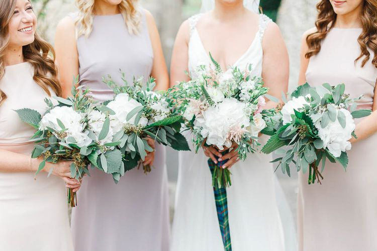 Bouquets | Pink Hued ASOS Bridesmaid Dresses | Bride in Ellis Bridal Gown | Romantic Pastel Wedding at Cripps Barn | White Stag Wedding Photography | Dan Hodge Wedding Films