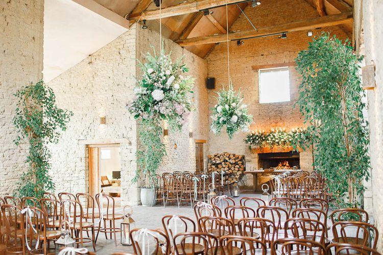 Barn Ceremony | Hanging Greenery Decor | Romantic Pastel Wedding at Cripps Barn | White Stag Wedding Photography | Dan Hodge Wedding Films