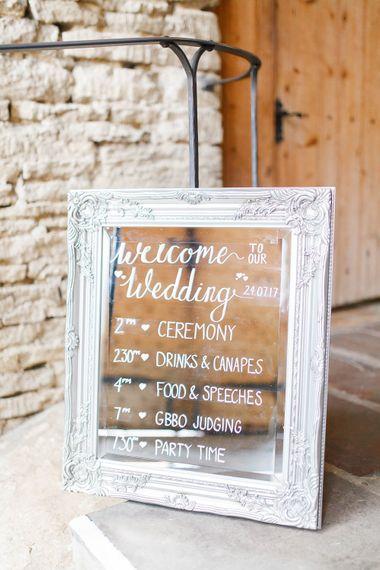 Glass Wedding Sign | Romantic Pastel Wedding at Cripps Barn | White Stag Wedding Photography | Dan Hodge Wedding Films