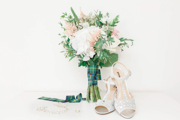 Bouquet & Bridal Shoes | Romantic Pastel Wedding at Cripps Barn | White Stag Wedding Photography | Dan Hodge Wedding Films