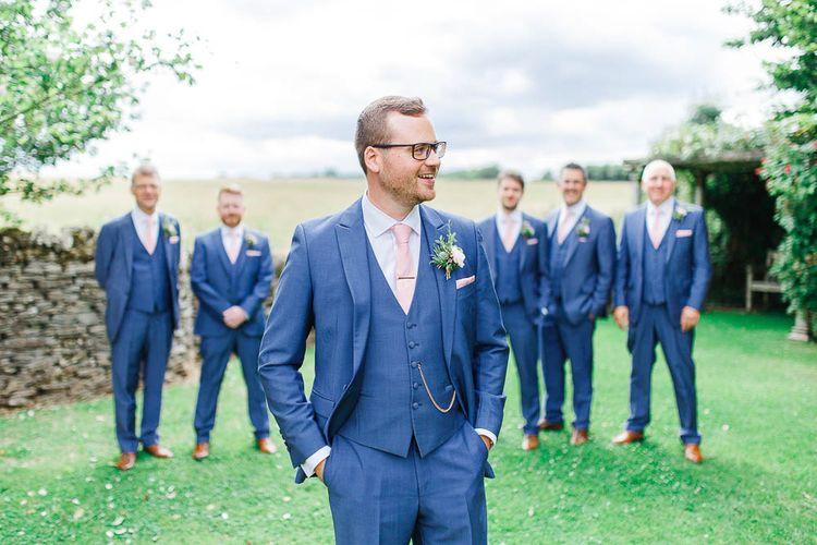 Groomsmen in Dyfed Menswear Navy Suits | Romantic Pastel Wedding at Cripps Barn | White Stag Wedding Photography | Dan Hodge Wedding Films