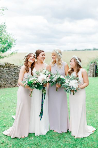 Bridal Party | Bride in Ellis Bridal Gown | Pink Hued ASOS Bridesmaid Dresses | Romantic Pastel Wedding at Cripps Barn | White Stag Wedding Photography | Dan Hodge Wedding Films