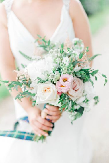 Pink & White Bouquet | Romantic Pastel Wedding at Cripps Barn | White Stag Wedding Photography | Dan Hodge Wedding Films