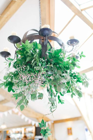 Hanging Greenery Installation | Romantic Pastel Wedding at Cripps Barn | White Stag Wedding Photography | Dan Hodge Wedding Films