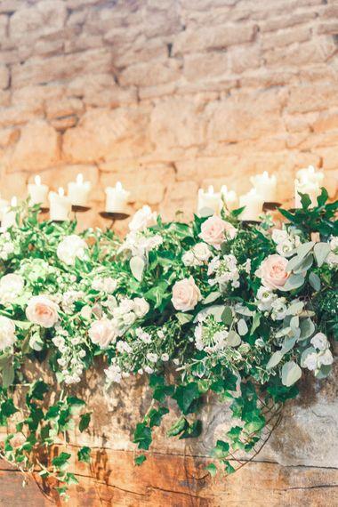Pink, White & Green Flower Arrangement | Romantic Pastel Wedding at Cripps Barn | White Stag Wedding Photography | Dan Hodge Wedding Films