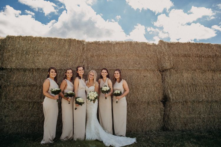 Neutral Toned Bridesmaids Dresses // Outdoor Stretch Tent Wedding With Italian Antipasti Feast And Hay Bale Seating With Images From Ania Ames Wedding Photography