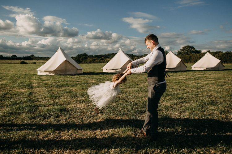 Bell Tent Camping For Wedding // Outdoor Stretch Tent Wedding With Italian Antipasti Feast And Hay Bale Seating With Images From Ania Ames Wedding Photography