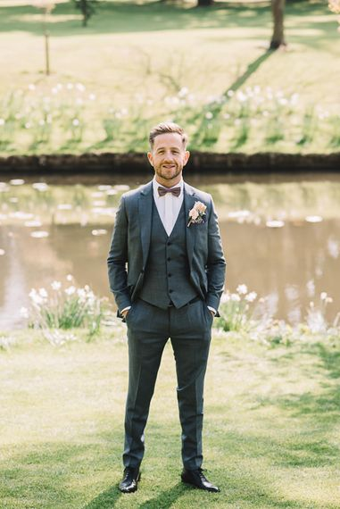 Groom in Grey Moss Bros Suit | The Orangery Maidstone | Lucie Watson Photography | TDH Media Films