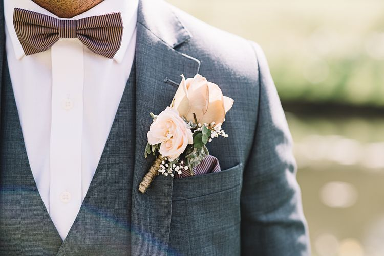 Vintage Rose Buttonhole | Groom in Grey Moss Bros Suit | The Orangery Maidstone | Lucie Watson Photography | TDH Media Films