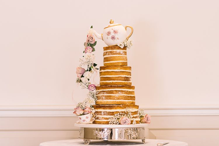 Sponge Naked Wedding Cake with Tea Cup & Flower Decor | The Orangery Maidstone | Lucie Watson Photography | TDH Media Films