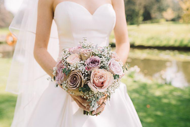 Vintage Pink Rose & Gypsophila Bouquet | Bride in Ronald Joyce Wedding Dress | The Orangery Maidstone | Lucie Watson Photography | TDH Media Films