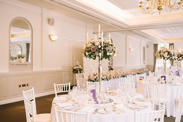 Candelabra & Flower Table Centrepieces | The Orangery Maidstone | Lucie Watson Photography | TDH Media Films