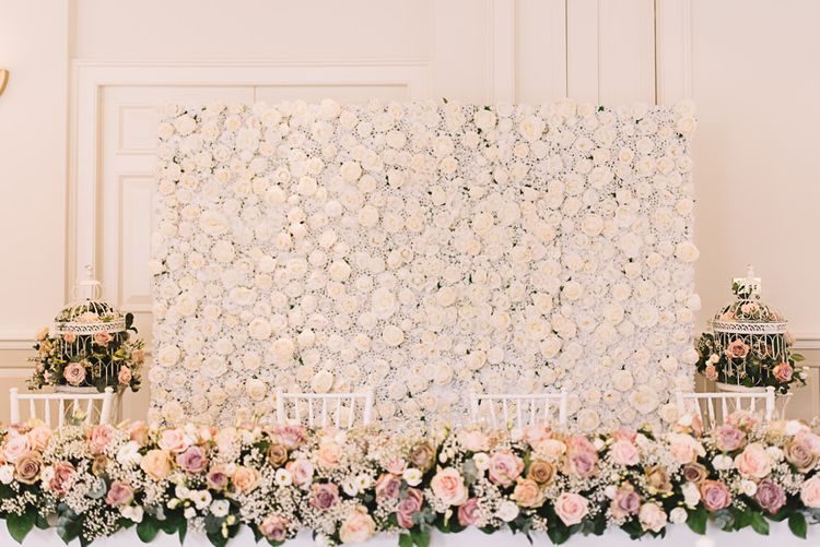 Flower Wall & Top Table Floral Attangement | The Orangery Maidstone | Lucie Watson Photography | TDH Media Films