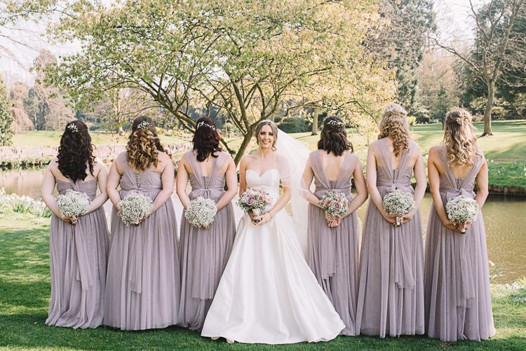 Bridesmaids in Heather Chiffon Yours Truly Dresses | Bride in Ronald Joyce Wedding Dress | The Orangery Maidstone | Lucie Watson Photography | TDH Media Films