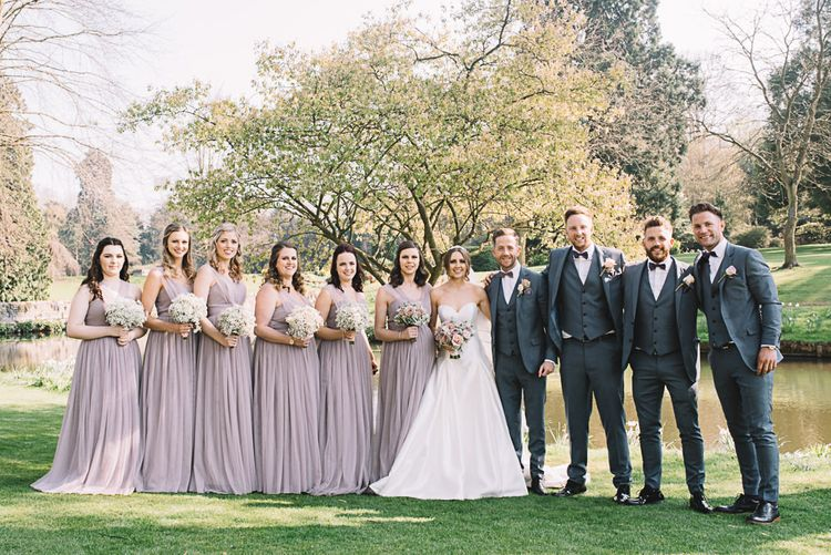 Wedding Party | Bridesmaids in Heather Chiffon Yours Truly Dresses | Bride in Ronald Joyce Wedding Dress | The Orangery Maidstone | Lucie Watson Photography | TDH Media Films