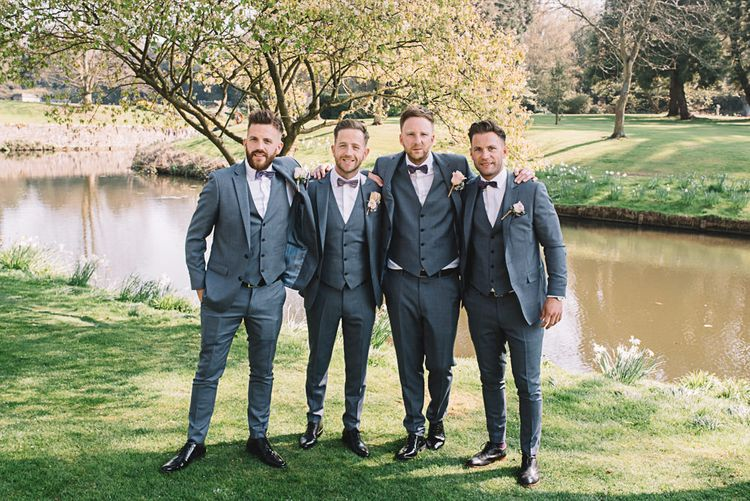 Groomsmen in Grey Moss Bros Suits | The Orangery Maidstone | Lucie Watson Photography | TDH Media Films