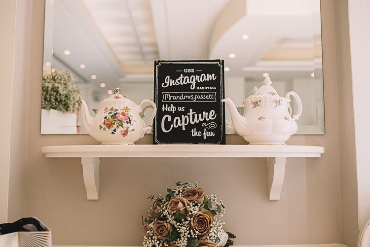 Instagram Chalkboard Wedding Sign | Bride in Ronald Joyce Wedding Dress | Groom in Grey Moss Bros Suit | The Orangery Maidstone | Lucie Watson Photography | TDH Media Films