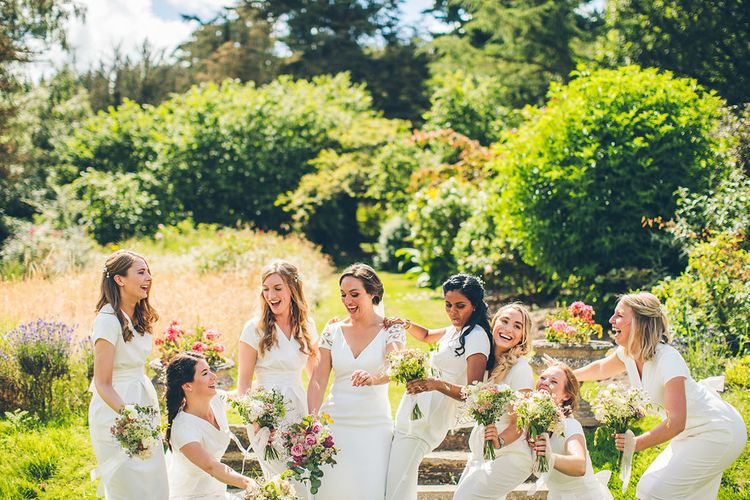 Elia By Pronovias Wedding Dress Bridesmaids In White Dresses Walcot Hall Wedding Venue With Images From The Crawleys & Film From This Modern Revelry