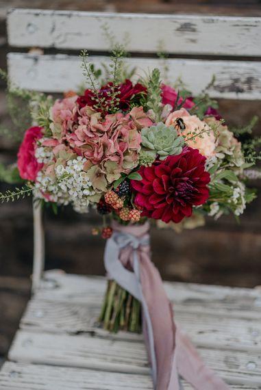 Structured Wedding Bouquet In Deep Reds & Oranges