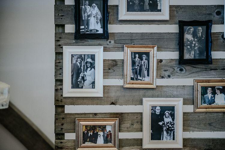 Vintage Wedding Photograph Display Wall