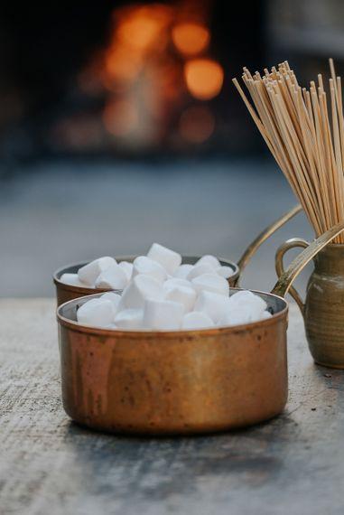 Toasting Marshmallows at Wedding
