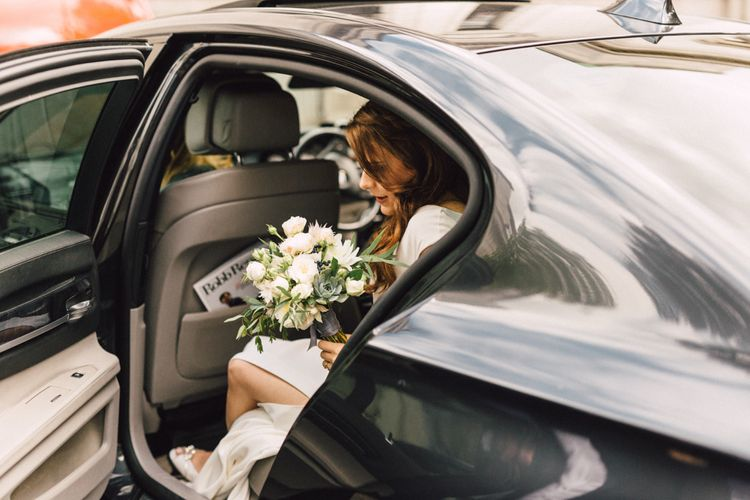 White & Pale Pink Wedding Bouquet For An Autumn Wedding