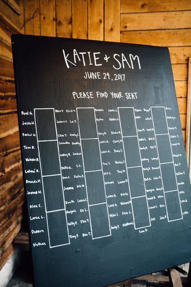 Chalkboard Table Plan | Rustic Barn Wedding at Nancarrow Farm, Cornwall | Samuel Docker Photography