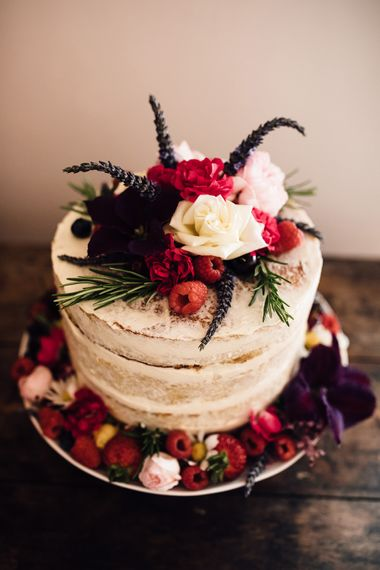 Semi Naked Wedding Cake | Rustic Barn Wedding at Nancarrow Farm, Cornwall | Samuel Docker Photography
