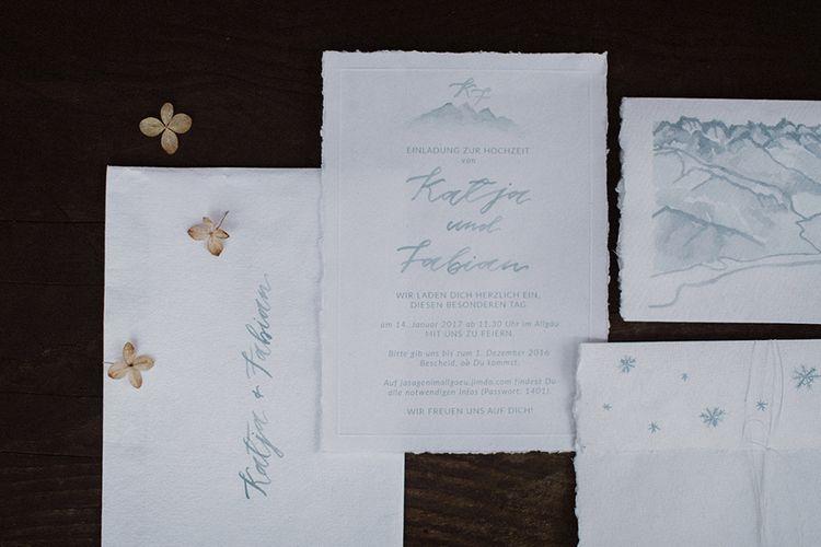 Grey Stationery For A Snowy Winter Wedding In Bavaria