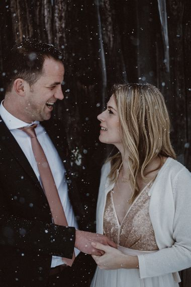 Snowy Winter Wedding In Bavaria With Bride In Truvelle