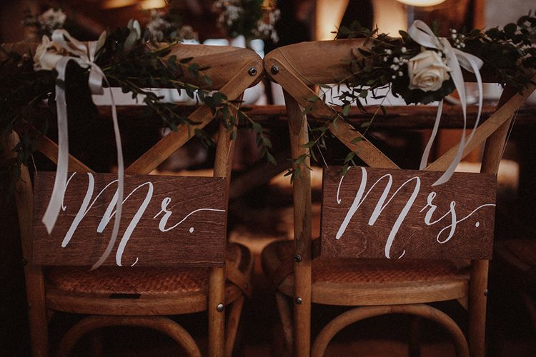 Mr & Mrs Signs For Chairs
