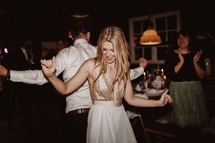 Bride In Sequinned Top Truvelle Dress