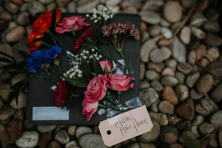 Wedding Hair Flowers | Colourful DIY Barn Wedding at The Manor Barn, Cambridge | Meghan Lorna Photography